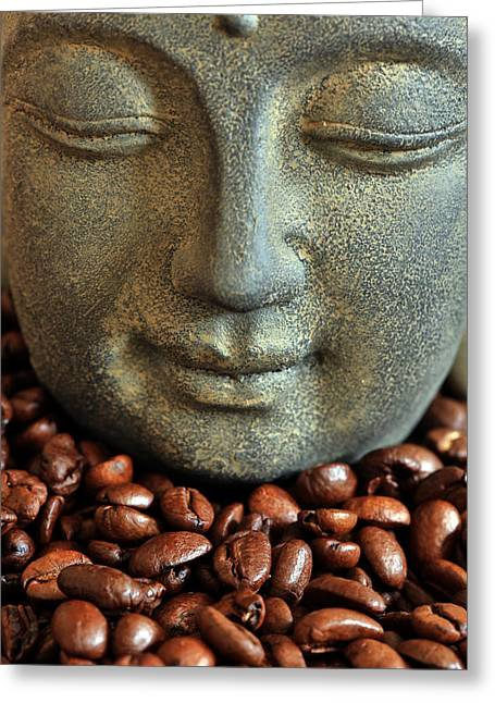 Asien Photographs Greeting Cards - Coffee Buddha 3 Greeting Card by Falko Follert