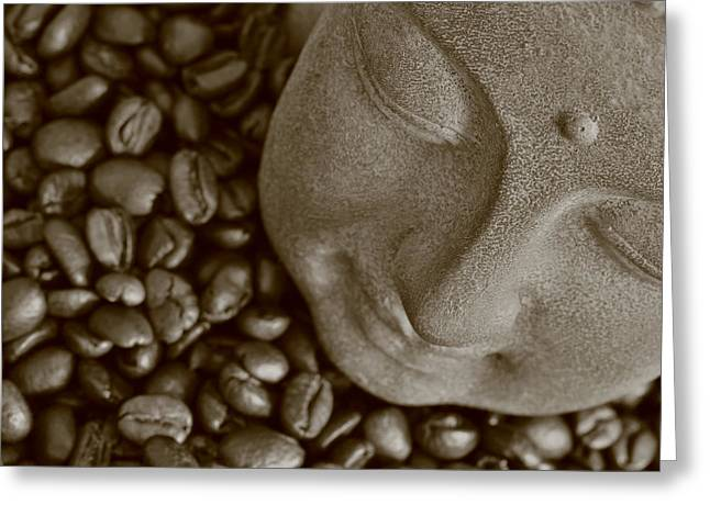 Asien Photographs Greeting Cards - Coffee Buddha 7 Greeting Card by Falko Follert