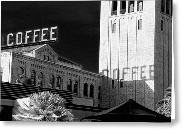 Downtown San Francisco Greeting Cards - Coffee BW Greeting Card by Jenny Hudson
