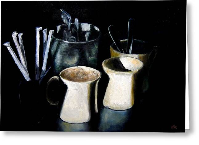 Diane Kraudelt Greeting Cards - Coffee Cafe Greeting Card by Diane Kraudelt