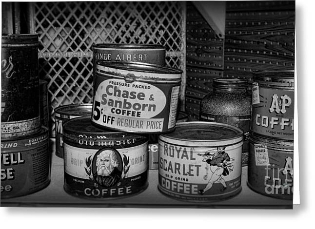 Canned Goods Greeting Cards - Coffee Cans in Black And White Greeting Card by Paul Ward