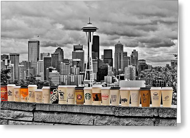 Seattle Skyline Greeting Cards - Coffee Capital Greeting Card by Benjamin Yeager