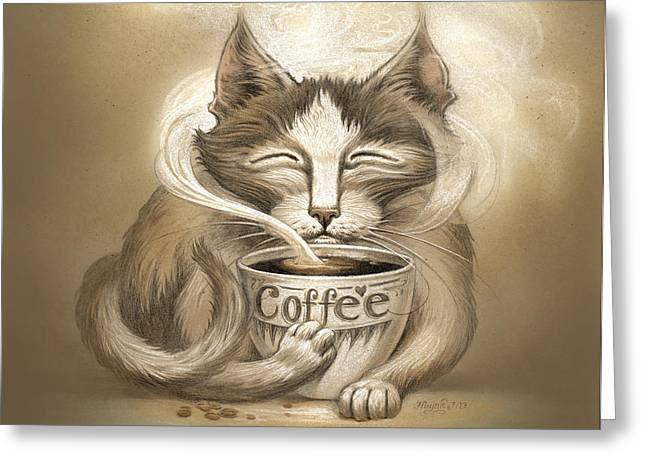 Cats Digital Art Greeting Cards - Coffee Cat Greeting Card by Jeff Haynie
