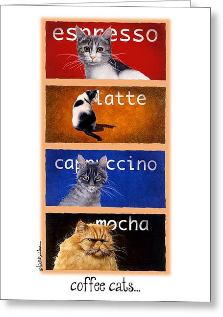 Bullis Greeting Cards - Coffee Cats... Greeting Card by Will Bullas