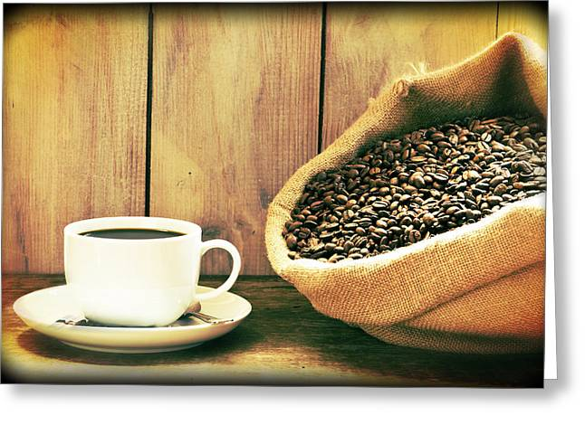 White China Cup Greeting Cards - Coffee Greeting Card by Amanda And Christopher Elwell