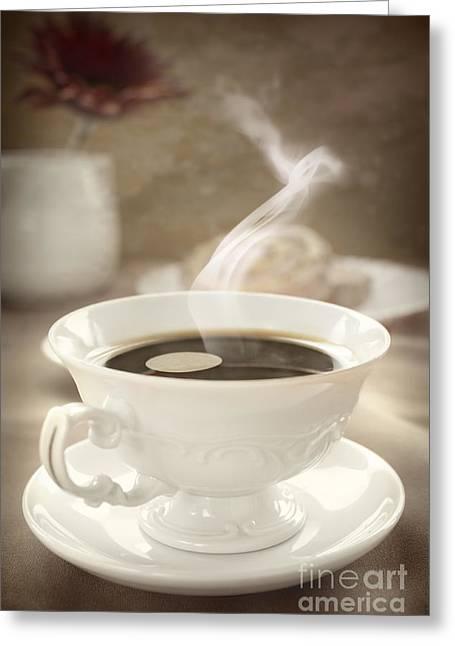 Mythja Greeting Cards - Coffee close up Greeting Card by Mythja  Photography