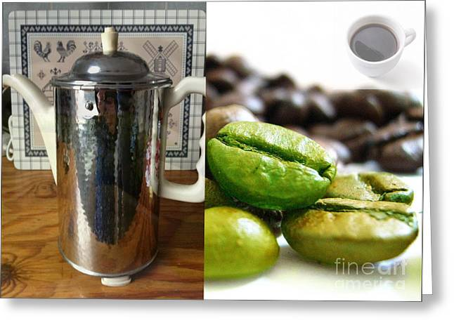 Green Beans Mixed Media Greeting Cards - Coffee Coffeee Coffee Greeting Card by M and L Creations