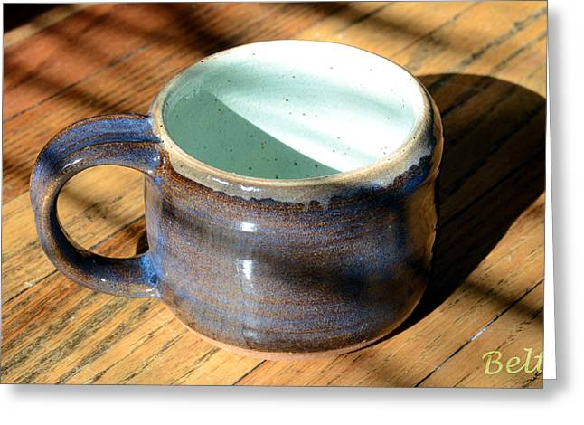 Glazed Pottery Ceramics Greeting Cards - Coffee Connoisseur No.2 Greeting Card by Christine Belt