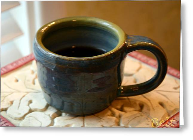 Ceramic Ceramics Greeting Cards - Coffee Connoisseur No.5 Greeting Card by Christine Belt