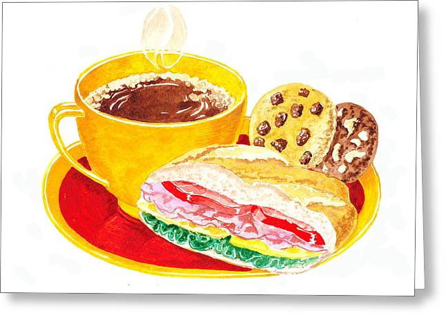 Sandwich Greeting Cards - Coffee Cookies Sandwich Lunch Greeting Card by Irina Sztukowski
