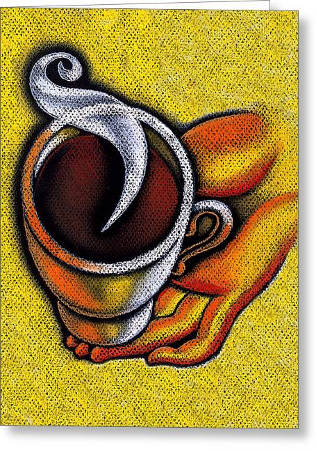 Coffee Drinking Paintings Greeting Cards - Coffee Cup  Greeting Card by Leon Zernitsky