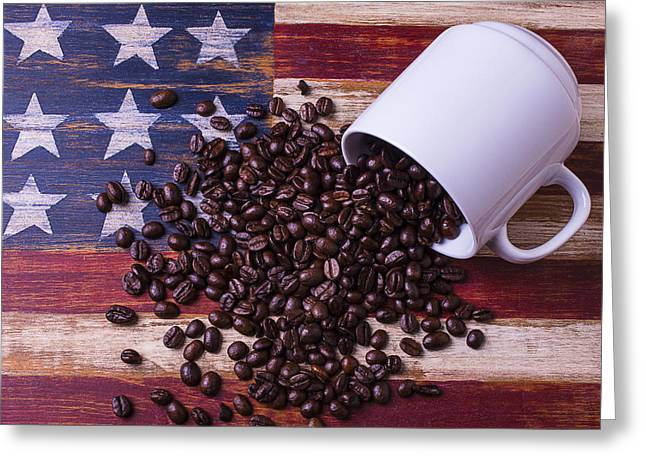 Harvest Art Greeting Cards - Coffee Cup On American Flag Greeting Card by Garry Gay