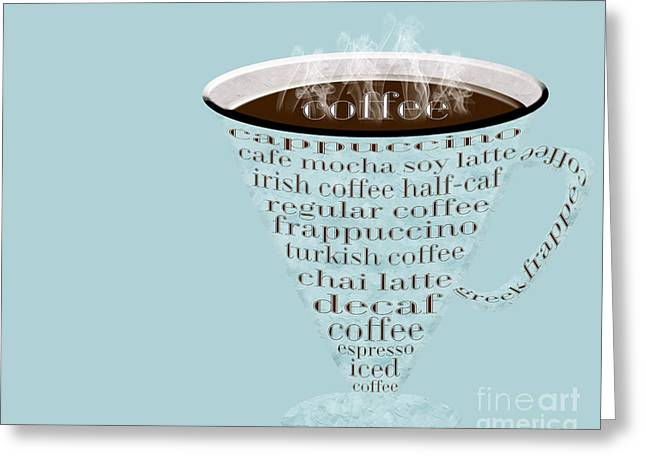 Decaf Greeting Cards - Coffee Cup The Jetsons Blue Greeting Card by Andee Design