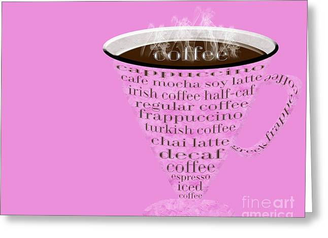 Decaf Greeting Cards - Coffee Cup The Jetsons Hot Pink Greeting Card by Andee Design