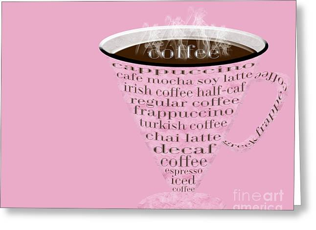 Decaf Greeting Cards - Coffee Cup The Jetsons Pink  Greeting Card by Andee Design