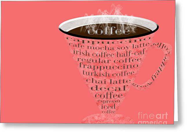 Decaf Greeting Cards - Coffee Cup The Jetsons Red Greeting Card by Andee Design