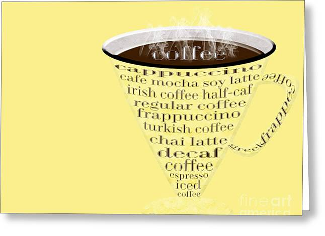 Decaf Greeting Cards - Coffee Cup The Jetsons Yellow Greeting Card by Andee Design