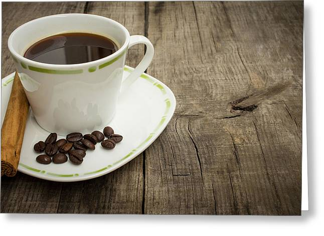 Pause Greeting Cards - Coffee Cup with beans and cinnamon stick Greeting Card by Aged Pixel