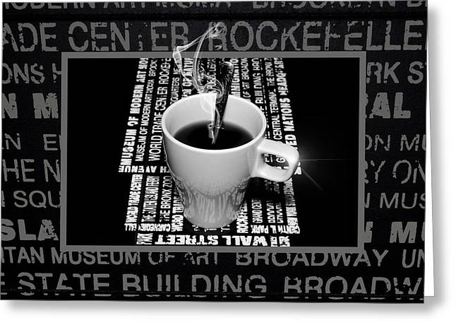 Menu Illustrations Greeting Cards - Coffee cup with spoon Greeting Card by Toppart Sweden