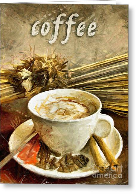 Cup Pastels Greeting Cards - Coffee - drawing Greeting Card by Daliana Pacuraru