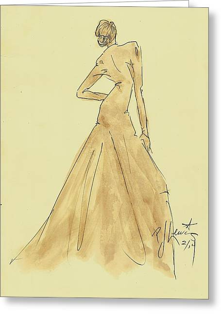 Fashion Design Drawings Greeting Cards - Coffee Dress Greeting Card by P J Lewis