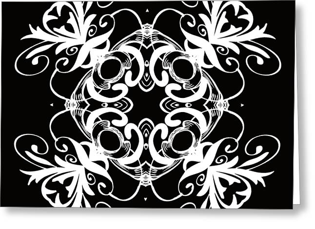 Rosette Digital Art Greeting Cards - Coffee Flowers 1 BW Ornate Medallion Greeting Card by Angelina Vick