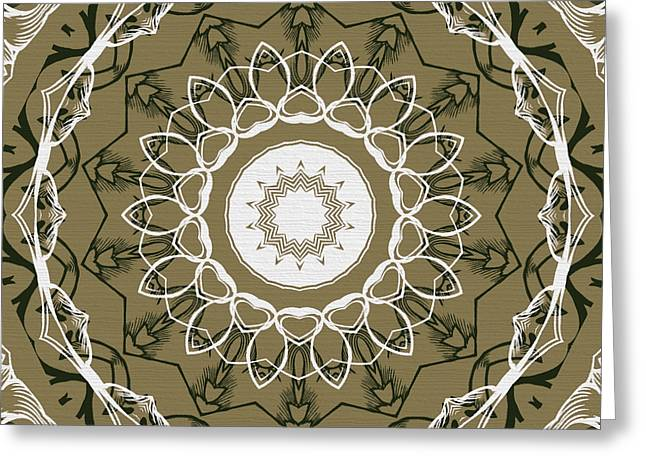 Rosette Greeting Cards - Coffee Flowers 1 Olive Ornate Medallion Greeting Card by Angelina Vick