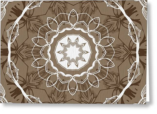 Rotation Greeting Cards - Coffee Flowers 1 Ornate Medallion Greeting Card by Angelina Vick