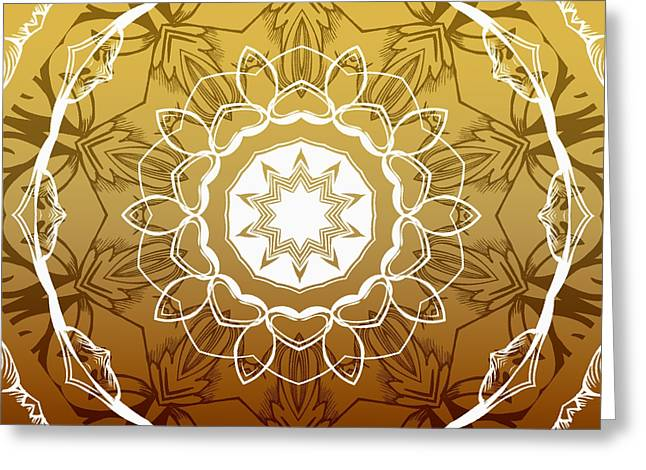 Rosette Digital Art Greeting Cards - Coffee Flowers 1 Ornate Medallion Calypso Greeting Card by Angelina Vick