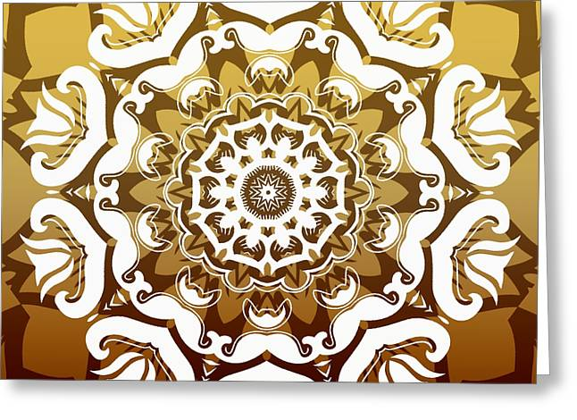 Rotation Greeting Cards - Coffee Flowers 10 Calypso Ornate Medallion Greeting Card by Angelina Vick
