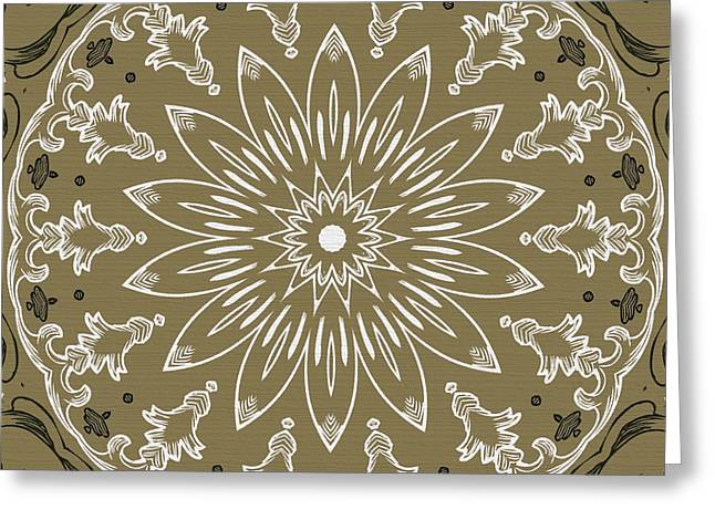 Rotation Greeting Cards - Coffee Flowers 11 Olive Ornate Medallion Greeting Card by Angelina Vick