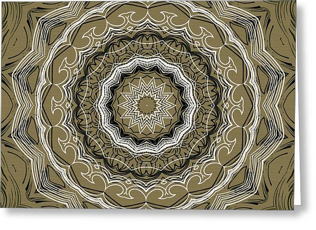 Rosette Digital Art Greeting Cards - Coffee Flowers 2 Ornate Medallion Olive Greeting Card by Angelina Vick