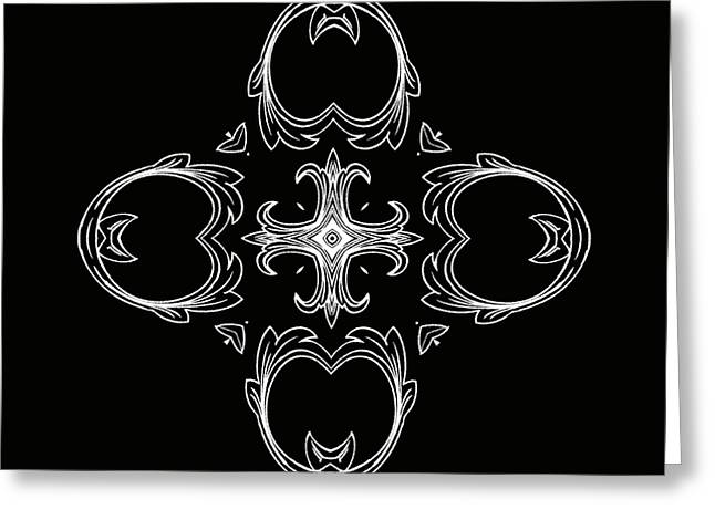 Rosette Greeting Cards - Coffee Flowers 3 BW Ornate Medallion Greeting Card by Angelina Vick