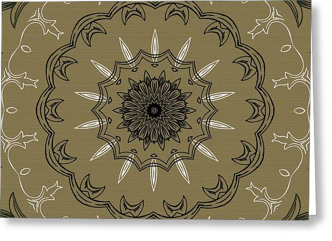 Rosette Greeting Cards - Coffee Flowers 3 Olive Ornate Medallion Greeting Card by Angelina Vick