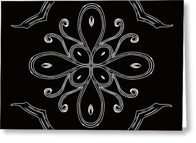 Rotation Greeting Cards - Coffee Flowers 4 BW Ornate Medallion Greeting Card by Angelina Vick