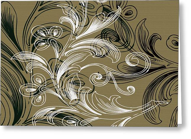 Muted Digital Art Greeting Cards - Coffee Flowers 4 Olive Greeting Card by Angelina Vick