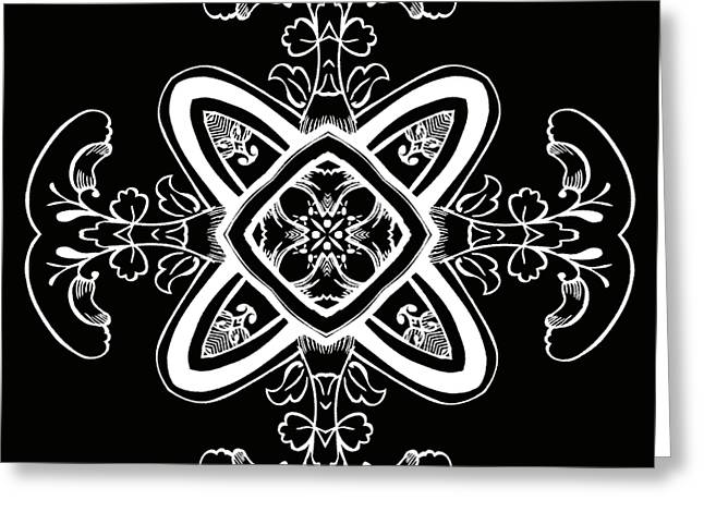 Rotation Greeting Cards - Coffee Flowers 5 BW Ornate Medallion Greeting Card by Angelina Vick