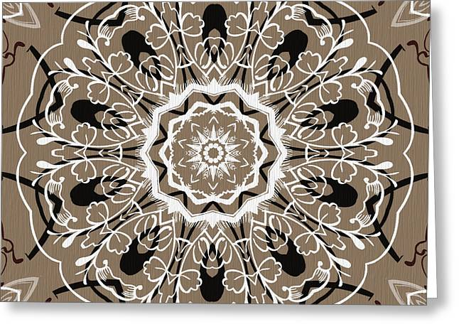 Coffee Flowers 5 Ornate Medallion Greeting Card by Angelina Vick