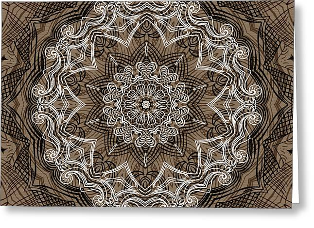 Rotation Greeting Cards - Coffee Flowers 6 Ornate Medallion Greeting Card by Angelina Vick