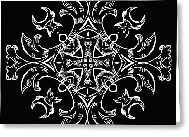 Rotation Greeting Cards - Coffee Flowers 7 BW Ornate Medallion Greeting Card by Angelina Vick
