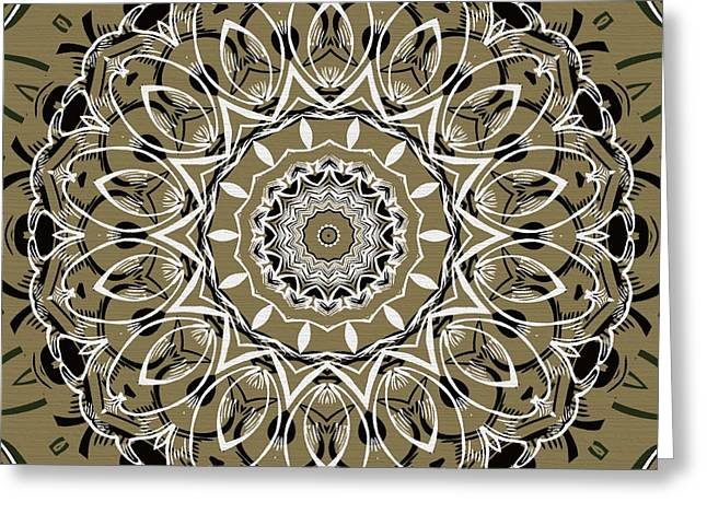 Coffee Flowers 7 Olive Ornate Medallion Greeting Card by Angelina Vick