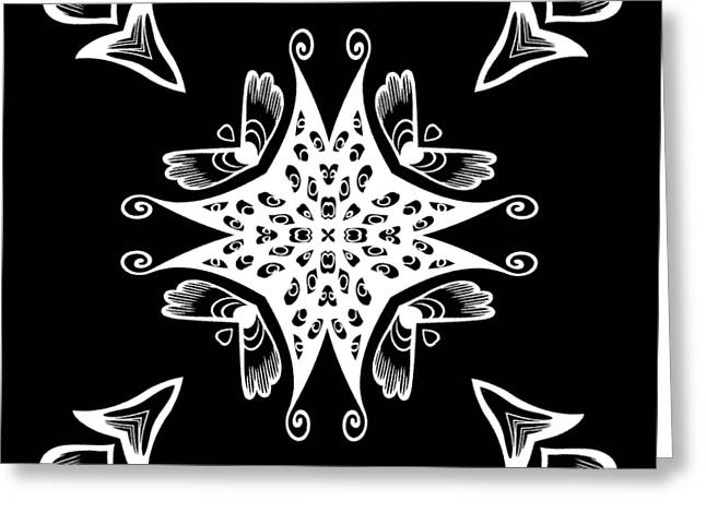 Coffee Flowers 9 Bw Ornate Medallion Greeting Card by Angelina Vick