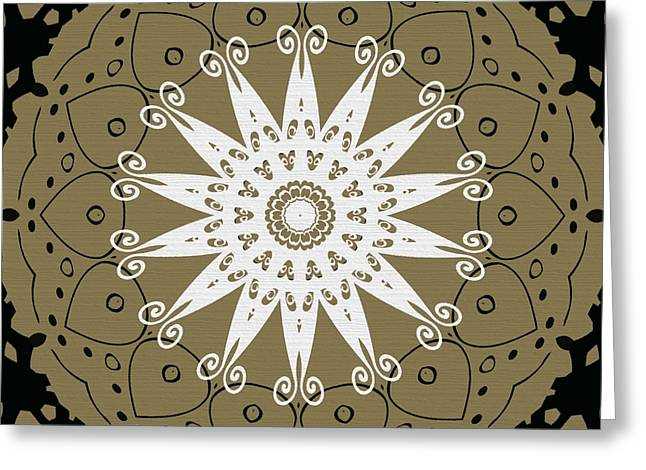 Coffee Flowers 9 Olive Ornate Medallion Greeting Card by Angelina Vick