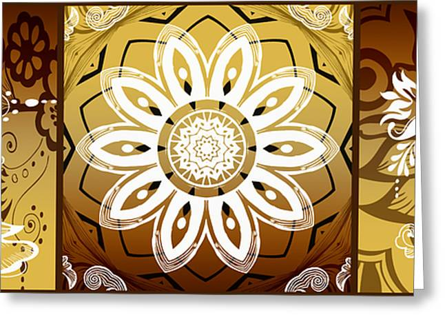 Coffee Flowers Calypso Triptych 2 Horizontal   Greeting Card by Angelina Vick