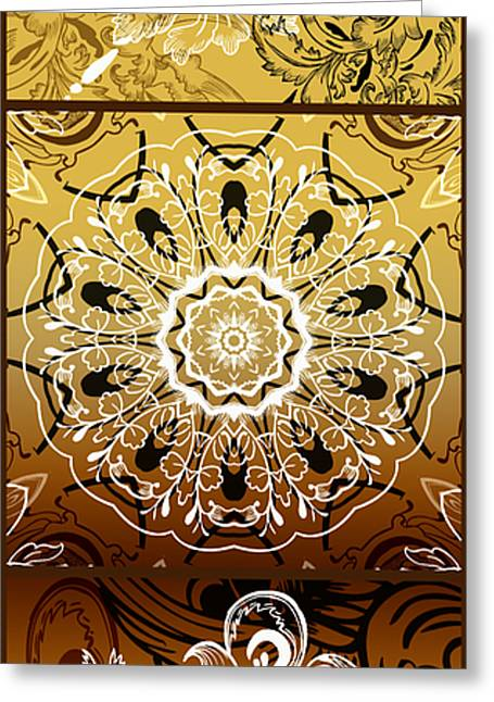 Coffee Flowers Calypso Triptych 3 Vertical Greeting Card by Angelina Vick