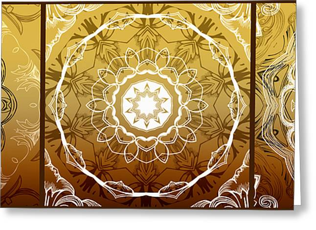 Rosette Digital Art Greeting Cards - Coffee Flowers Medallion Calypso Triptych 1  Greeting Card by Angelina Vick