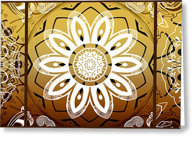 Rosette Greeting Cards - Coffee Flowers Medallion Calypso Triptych 2  Greeting Card by Angelina Vick