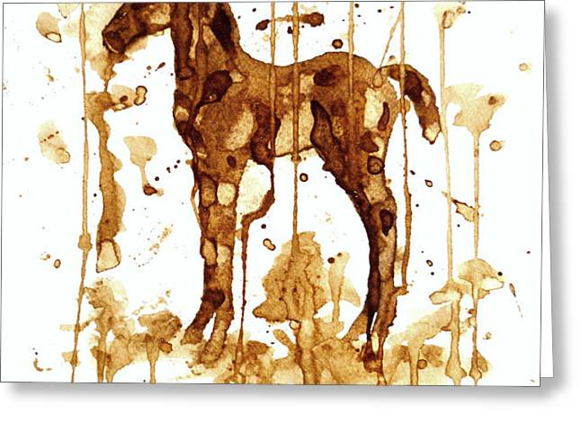 Coffee Foal Greeting Card by Zaira Dzhaubaeva