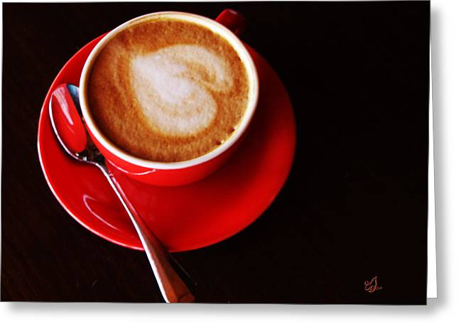 Photographs With Red. Greeting Cards - Coffee For Lovers Greeting Card by Music of the Heart