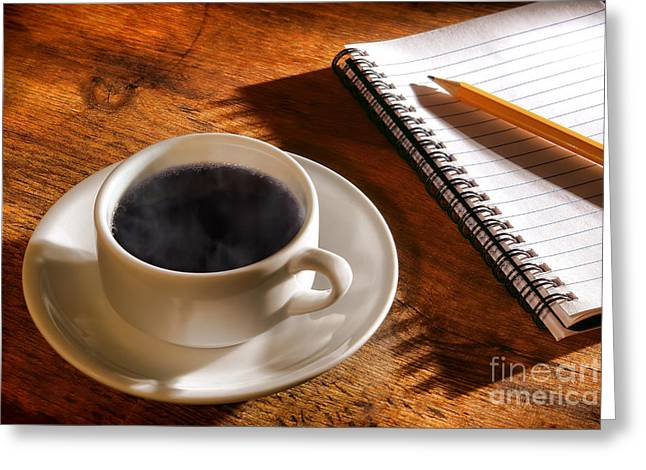 Blank Pages Greeting Cards - Coffee for the Writer Greeting Card by Olivier Le Queinec
